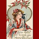 Holiday Greeting-Woman on Telephone by Yesteryears