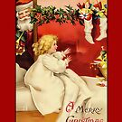 Holiday Greeting-Girl and Stockings by Yesteryears