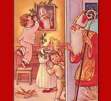 Holiday Greeting-Children and St. Nicholas by Yesteryears