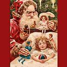 Holiday Greeting-Santa and Little Girl by Yesteryears