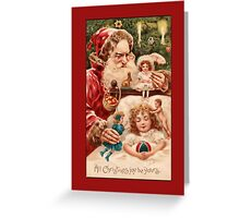 Holiday Greeting-Santa and Little Girl Greeting Card