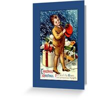 Holiday Greeting-Boy with Hat Greeting Card