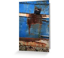 Blue Rusty Boat Greeting Card
