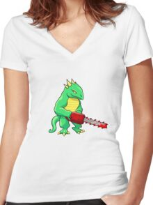 LIZARD MAN WITH CHAINSAW Women's Fitted V-Neck T-Shirt