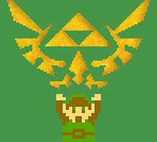 Classic Link and Triforce by pardock