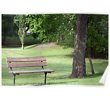 Wooden Bench in a  Park Poster