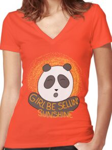 Girl be sellin' sunshine - Panda's song ( We Bare Bears ) Women's Fitted V-Neck T-Shirt