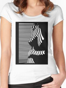 """""""blinded"""" Noir Nude. Photo turned stencil painting. Women's Fitted Scoop T-Shirt"""