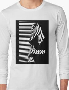 """blinded"" Noir Nude. Photo turned stencil painting. Long Sleeve T-Shirt"
