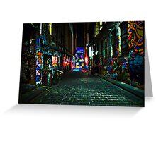 Graffiti Street at Night, Melbourne, Australia Greeting Card