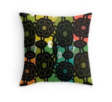 Black interlocking pattern over a coloured background. Throw Pillow