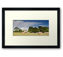 irish countryside rural nature farm hay scenic landscape nature Framed Print