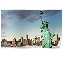 new york midtown cityscape skyline landmark hudson river statue liberty Poster