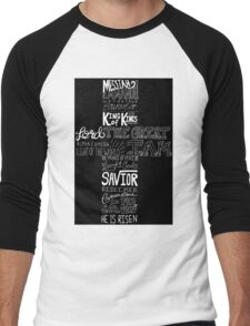 Typography Chalkboard Cross Names of Jesus Men's Baseball ¾ T-Shirt