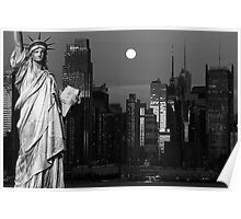new york cityscape skyline landmark hudson river statue liberty Poster