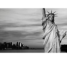 new york cityscape skyline landmark hudson river statue liberty Photographic Print