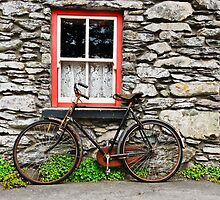 rural old stone cottage house bicycle countryside ireland by upthebanner
