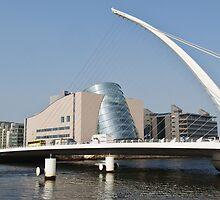 Samuel Beckett Bridge Cityscape Skyline Dublin Ireland by upthebanner