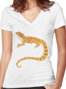 bearded dragon watercolour  Women's Fitted V-Neck T-Shirt