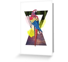 Red Macaw Triangles Greeting Card