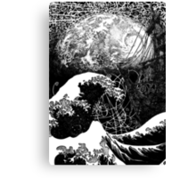 """Critical Mass"" Katsushika Hokusai's Great Wave and the earth. Ink Canvas Print"