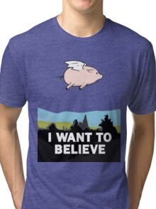 The X-Files: I Want to Believe Poster Flying Pig Spoof Tri-blend T-Shirt