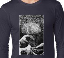 """Critical Mass"" Katsushika Hokusai's Great Wave and the earth. Ink Long Sleeve T-Shirt"