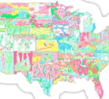 Lilly Pulitzer United States of America Map of Prints Sticker