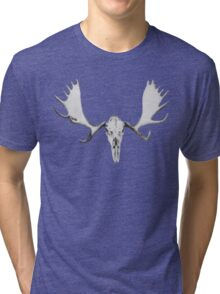 Hand Drawn Moose Skull Tri-blend T-Shirt