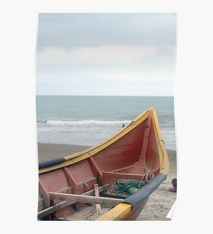Brown and Yellow Fishing Boat on the Beach Poster