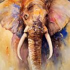 Elephant Art Watercolor Animal Painting by Arti Chauhan