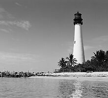 Cape Florida Lighthouse - B&W Film by njordphoto