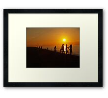 Silhouettes & Sunlight at Cley Beach Framed Print