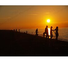 Silhouettes & Sunlight at Cley Beach Photographic Print
