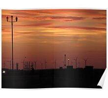 WIND FARM AND OIL PLATFORM Poster