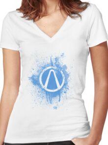 Vault Logo Splatter [V1] Women's Fitted V-Neck T-Shirt