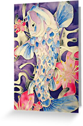 Koi Fish and Blossom Flowers Silk Painting by Jonesy235