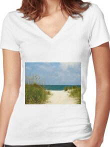 Peace At The Beach Women's Fitted V-Neck T-Shirt