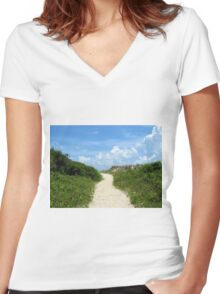 Pathway To The Beach Women's Fitted V-Neck T-Shirt