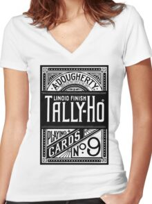 tally-ho deck of cards Women's Fitted V-Neck T-Shirt