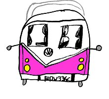 VW Camper Kids Pink by splashgti