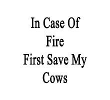 In Case Of Fire First Save My Cows  Photographic Print