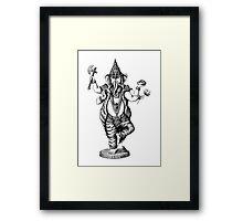 God Ganesha ink pen drawing Framed Print