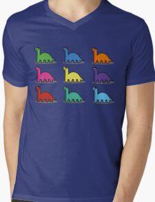 Multicoloured Dinosaurs Mens V-Neck T-Shirt