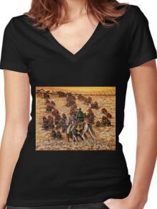 Driving The Herd, The Painting Women's Fitted V-Neck T-Shirt