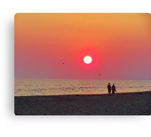 Couple Watching the Sunset Canvas Print