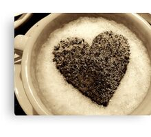Coffee Cup Chocolate Heart Canvas Print