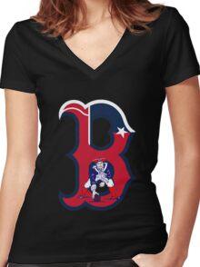 Boston Patriots  Women's Fitted V-Neck T-Shirt