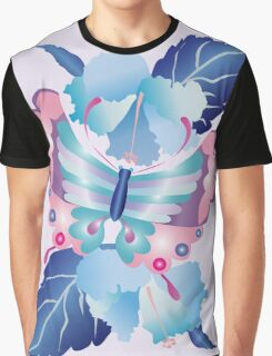 Pretty Purple Turquoise Butterfly Blue Winter Hibiscus Flowers Graphic T-Shirt