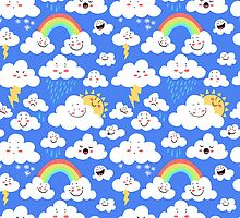 Cute Clouds Pattern by ShakeyIllustra
